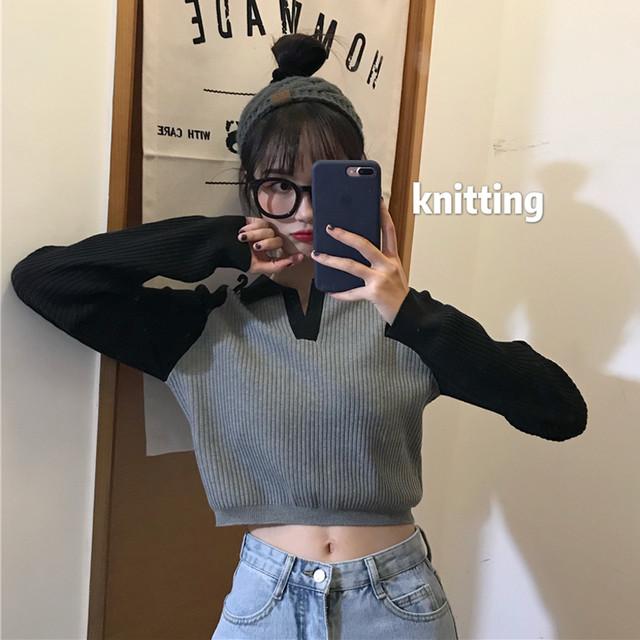 【トップス】配色切り替え不規則ブラックセーター23331195