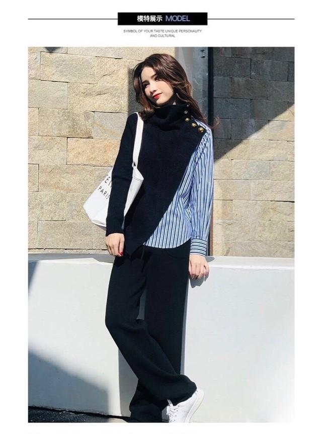 長袖ショート丈ファーがキュートなニットステッチセーター