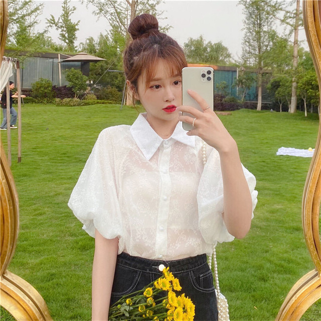 【韓国レディースファッション】 6663 ブラウス 半袖 カットソー シースルー シャツ トップス 夏 花柄 可愛い レディース 送料無料
