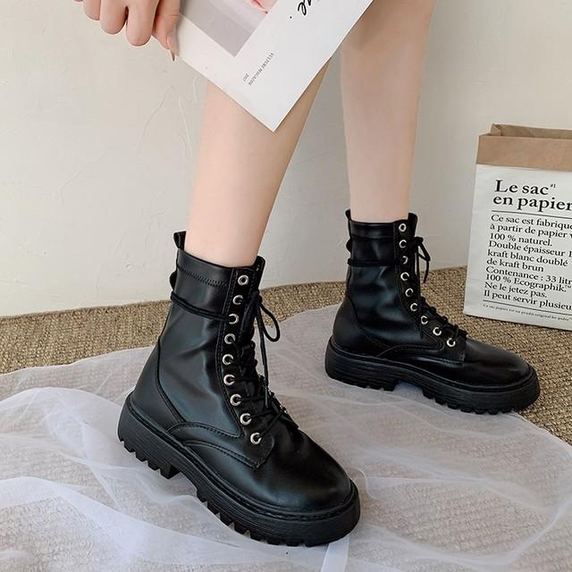 【シューズ】ファッション編み上げフラットヒール抗菌防臭丸トゥショート丈ブーツ37599951