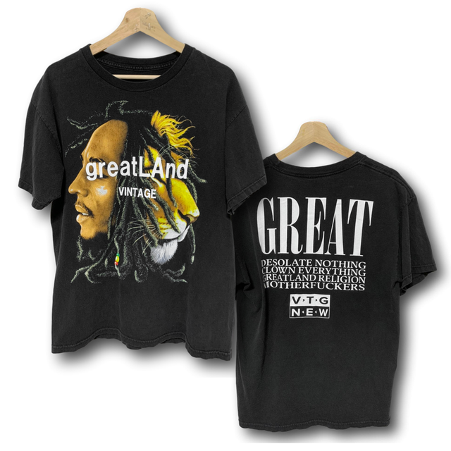 greatLAnd VINTAGE BOB MARLEY LION TWO FACE TEE BLACK LARGE