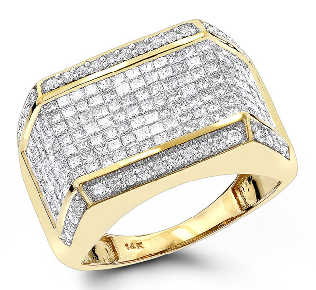 MENS DIAMOND RINGS 14K GOLD ROUND PRINCESS DIAMOND RING 2.25