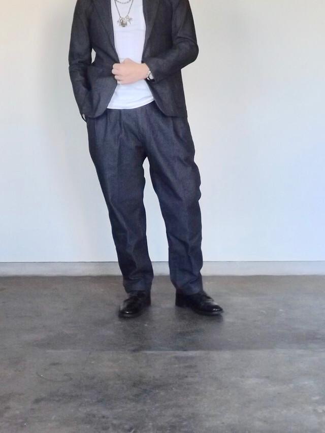 Mens [CM010] 40s Engineer Denim trouser   Wide 2tack  デニムトラウザーズ (クロキデニム)太め,ストレッチ,ワイドテーパード