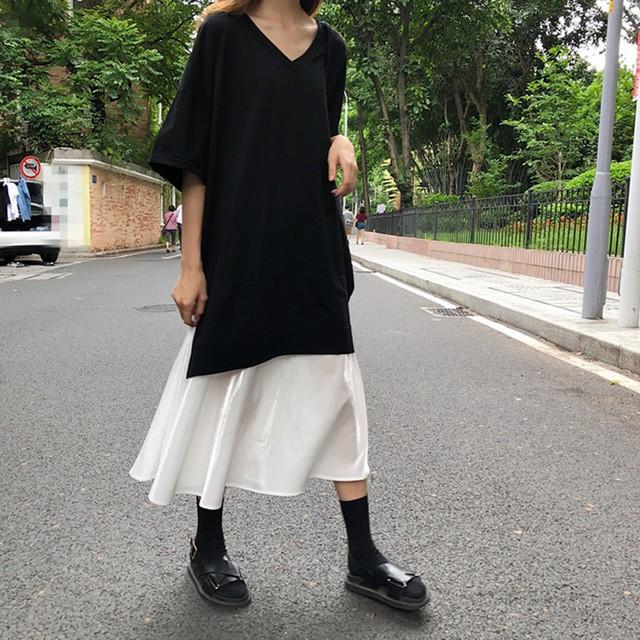 【dress】韓国人気新作ルーズVネック半袖切り替えカジュアルワンピース