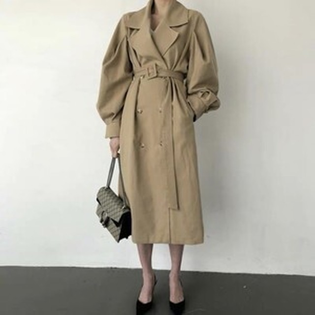 puff sleeve basic trench coat ZR2035