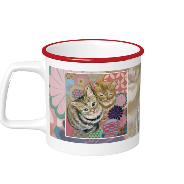 『日本画×花ネコ』 ラウンドリップマグカップ レッド