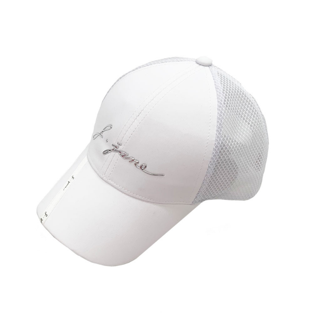 Ribbon line mesh ball cap (White)