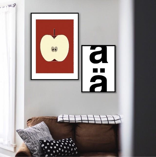 りんご半分この1こ目 / I068 / 北欧ポスター