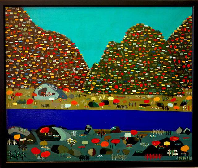 油彩画*秋の山