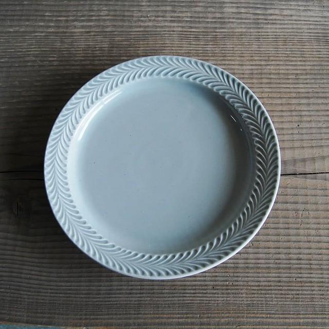 感器工房 波佐見焼 翔芳窯 ローズマリー リムプレート 皿 23.5cm グレー 332785