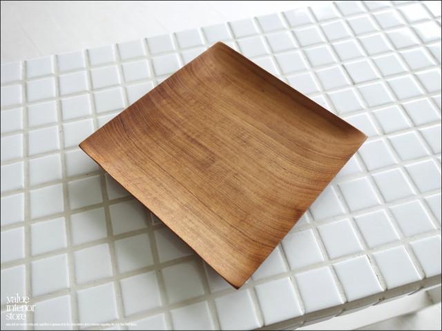 チークプレート角15cm 木皿 寿司皿 平皿 小皿 ディッシュ 総無垢 チーク材 ナチュラル ウッドディッシュ 木製皿 トレイ 和食器 天然木