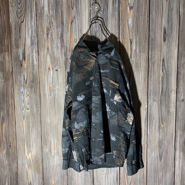 [used]mode black flower shirt