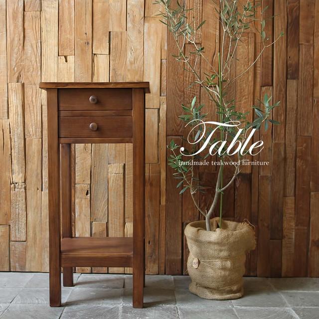 ●送料無料●電話台に、飾り台に、隙間家具に、便利で可愛いチーク材のテルテーブル 51-189