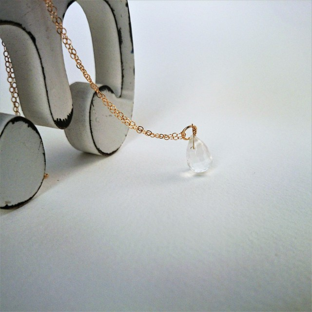 送料無料14kgf*rose quarz drop necklace