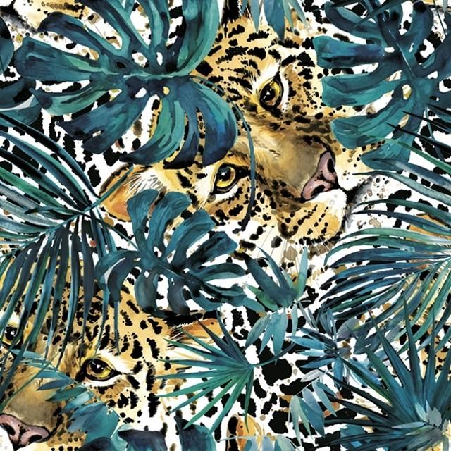 2021春夏【Daisy】バラ売り2枚 ランチサイズ ペーパーナプキン Hidden Leopard with Turquoise Monsteras ブラック