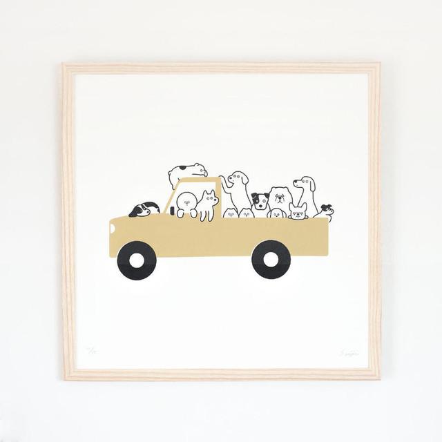 松本セイジ Silk Screen (シルクスクリーン)  A Jam-packed Car (Beige)