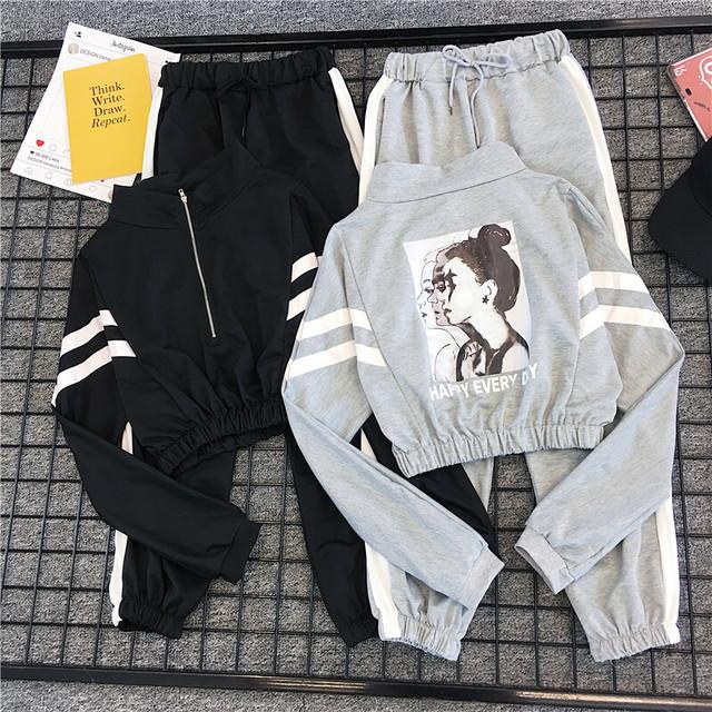 セットアップ 2点 韓国系 ショート丈パーカー+パンツ レディースファッション 着瘦せ カジュアル 大きいサイズ S M L LL ブラック グレー パープル
