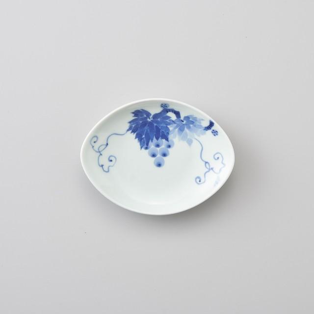 【青花 匠】ブドウ絵 舟型小皿
