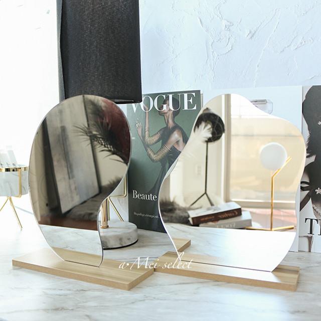 スタンド付きウェーブミラー【2タイプ】 韓国インテリア ディスプレイ キッズルーム 北欧 一人暮らし インテリア