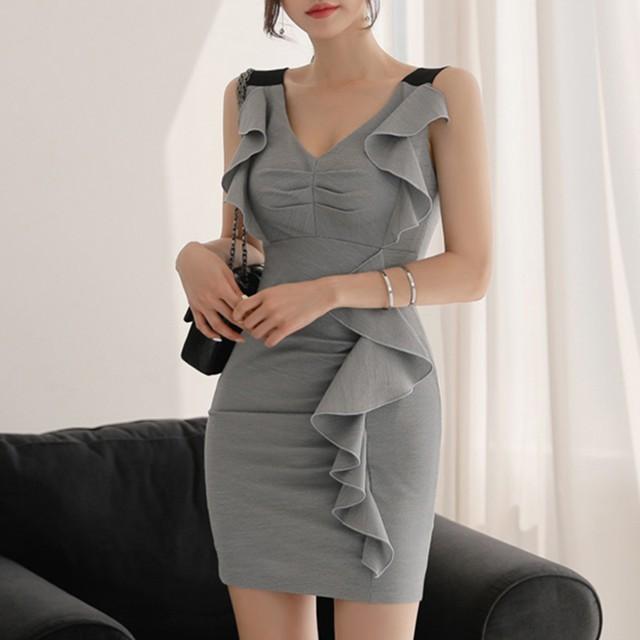 【dress】セクシーワンピースVネックフリルスリムタイトノースリーブ無地ファッション