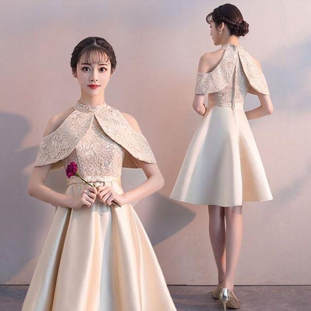 パーティードレスオリジナル デザイン ショート ワンピース シャンパン  二次会 結婚式演奏会 発表会 お呼ばれドレス 大きいサイズ XS S M L 2L 3L