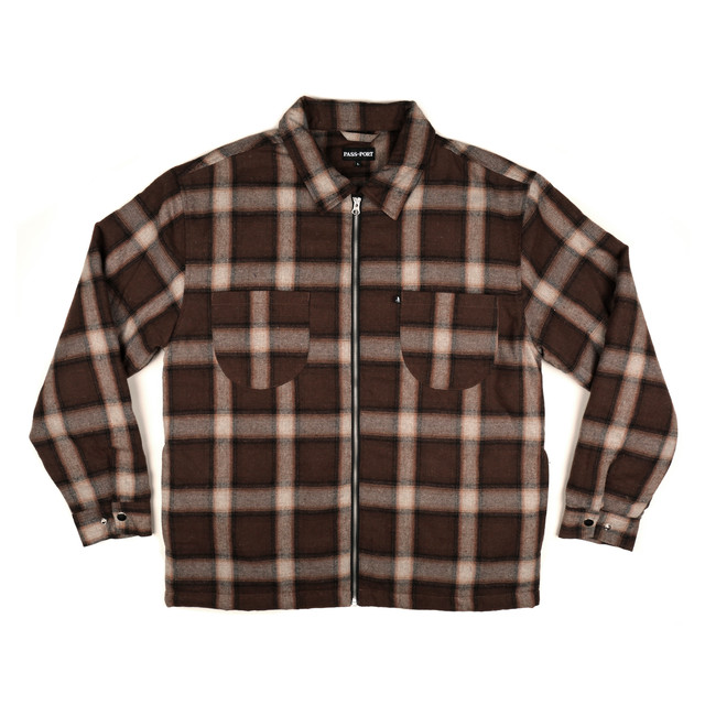"PASS~PORT ""QUIL TED ZIP-UP FLANNEL"" JACKET BROWN"