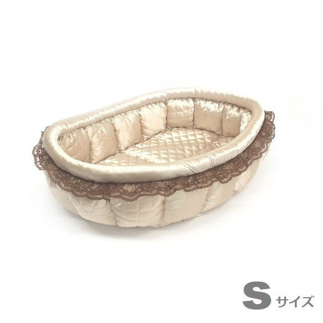 ふーじこちゃんママ手作り ぽんぽんベッド (サテンシャンパン) Sサイズ