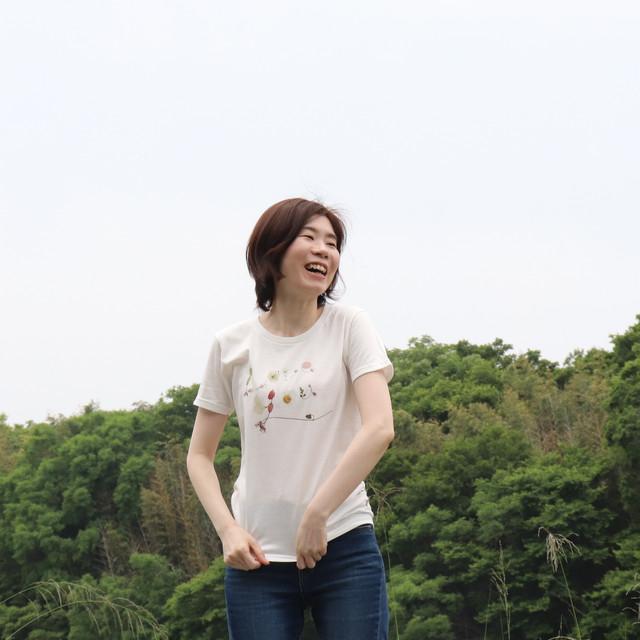 【Tシャツ】Loveyou/花文字キッズ 大人 オフホワイト/ライトピンク/ネイビー