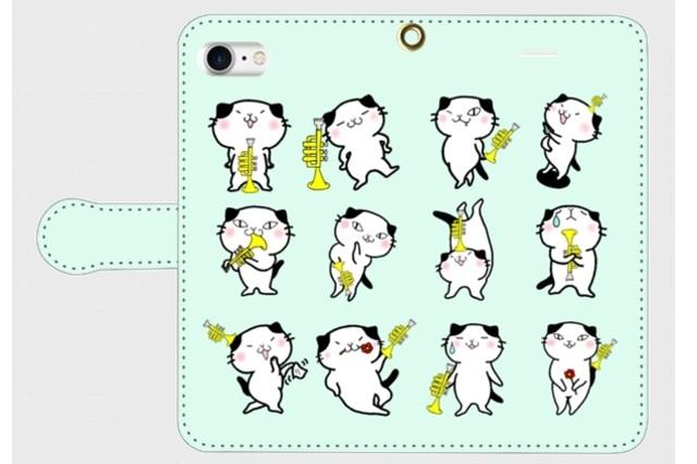 (iPhone用)トランペット猫にゃん手帳型スマホケース