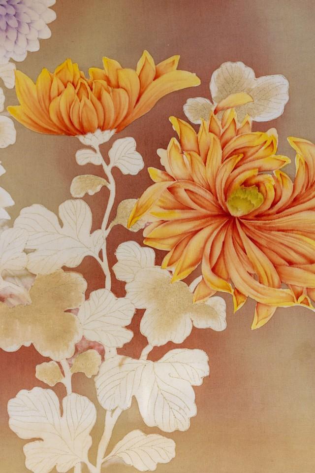 菊と薔薇 染め名古屋帯