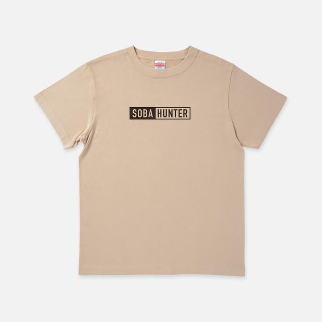 Tシャツ[SOBA HUNTER]ツートンボックス ライトベージュ色