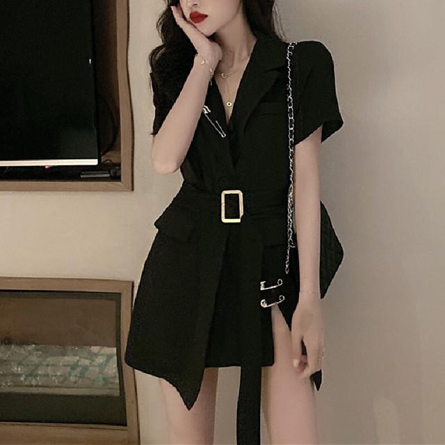 ワンピース 無地 ショート丈 レトロ ファッション 好感度100% ホワイト ブラック S M L