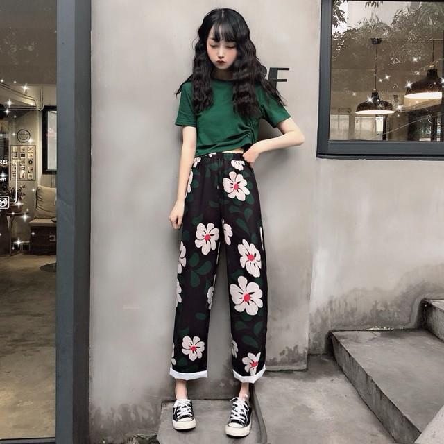 【bottoms】ファッション合わせやすいハイウエスト細見えプリントカジュアルパンツ