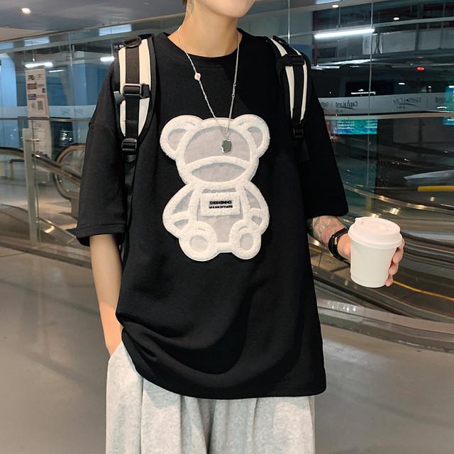 【トップス】ファッションストリート系キュート凸版シンプルTシャツ43517365