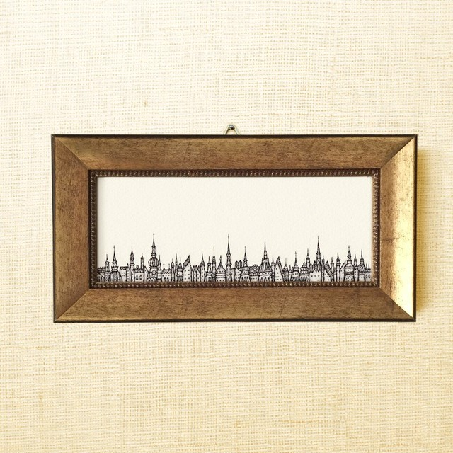 ミニ額縁 原画【 いつかの記憶 】small frame ver. ( antique gold / antique red )