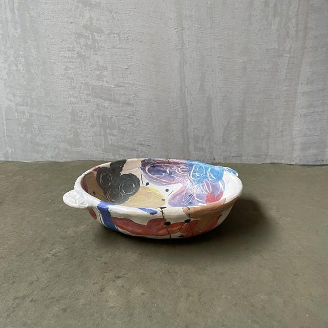 伊集院真理子   耳付き土鍋鉢  (トロピカル)