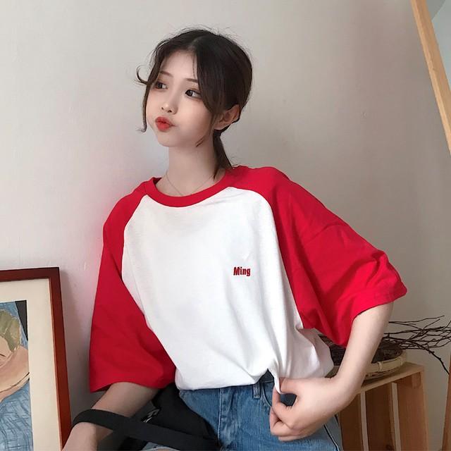 【tops】簡約・シンプル刺繍ラウンドネックプルオーバー五分袖Tシャツ