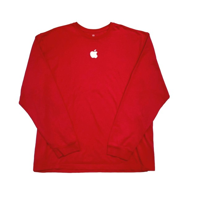 APPLE EMBROIDERY LOGO LS TEE RED 3XL 87484