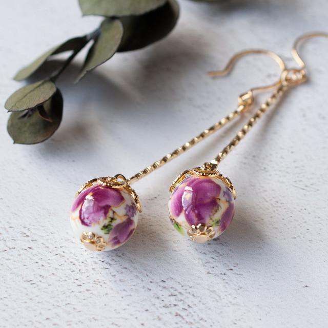 ひとつぶ中国陶器スイングピアス -紫花-