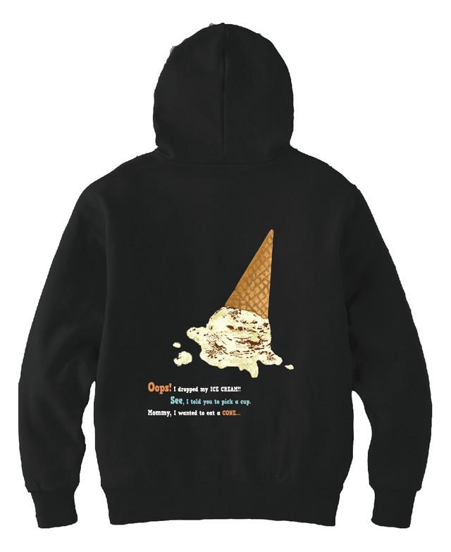 fallen ice cream パーカー(ブラック)