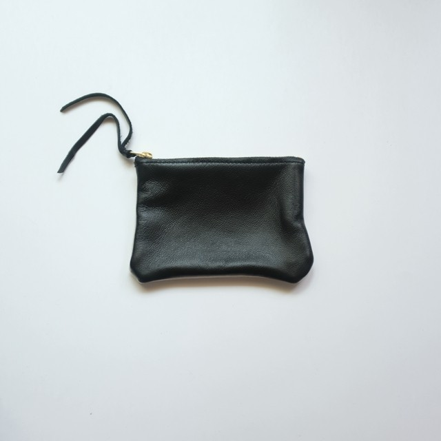pouch S sheep leather × vintage linen