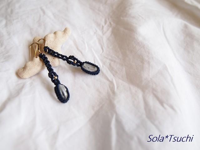 アーカンソー産ミニポイント水晶のゆらりピアス(イヤリング)濃紺