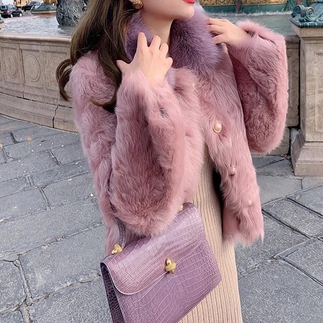襟付きピンクファーコート