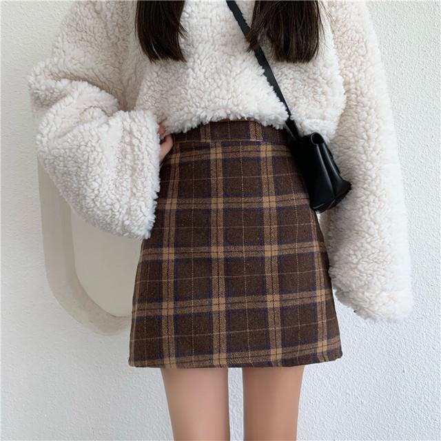 〈カフェシリーズ〉レトロチェック台形スカート【rétro check trapezoid skirt】
