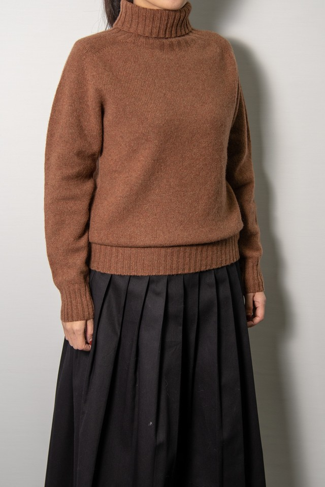 【ARMEN】POLO NECK SADDLE SHOULDER P/O:ブラウン