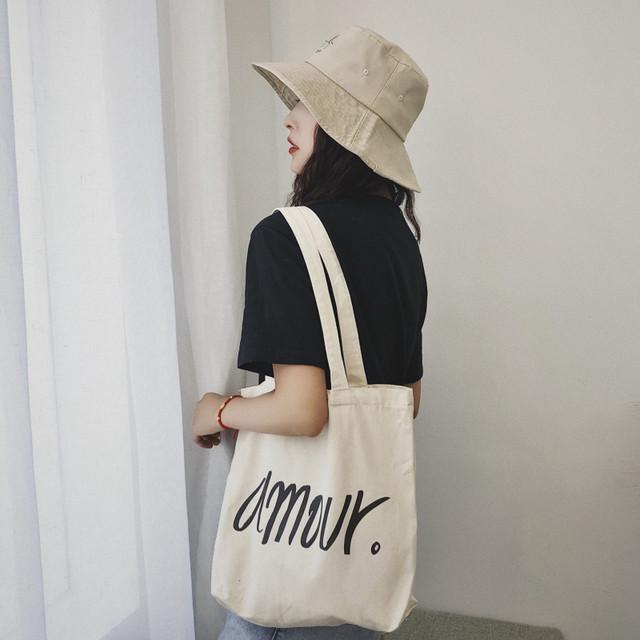 【小物】バッグ帆布アルファベットプリントオープンシンプルショルダーバッグ
