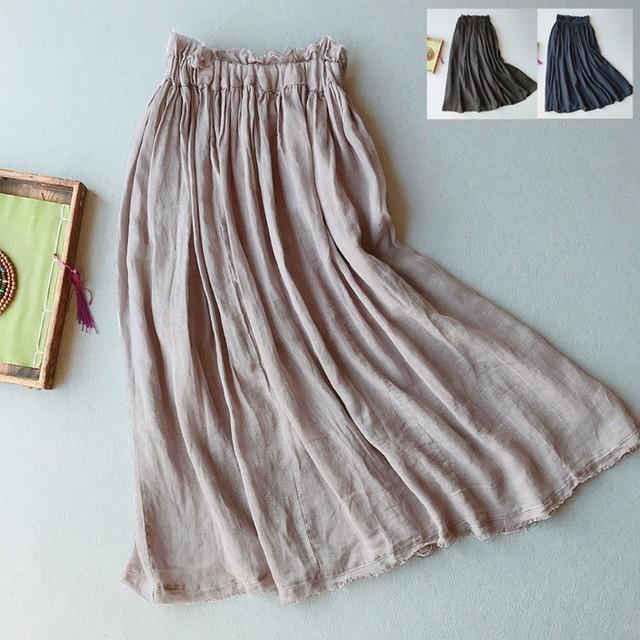 棉麻スカート ボトムス コットンリネン 3カラー選択 ロング丈 ゆったり 着痩せ 中華服 合わせやすい