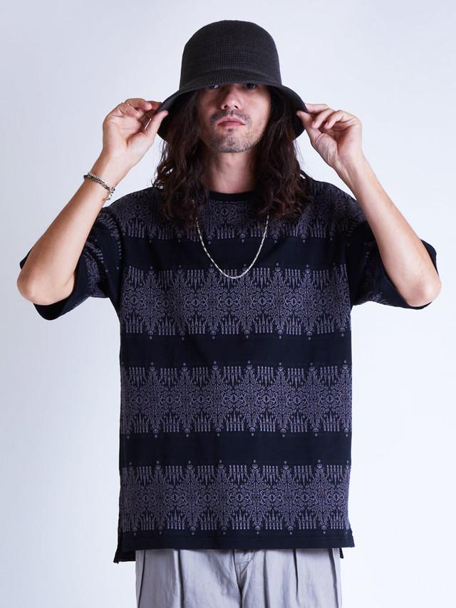 EGO TRIPPING (エゴトリッピング) ARABESQUE JACQUARD TEE アラベスクジャガードTシャツ / BLACK 663807-05