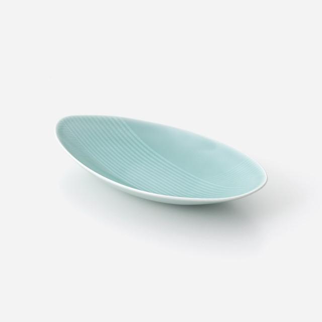 青磁光彩 楕円中鉢