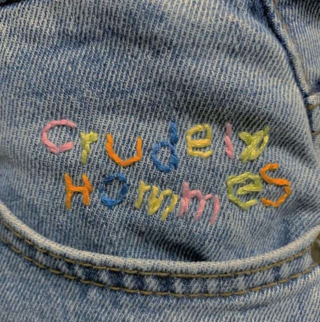 【Crudely Hommes】Rainbow Embroidery Logo Straight Denim